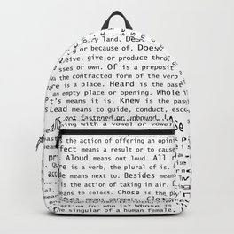 Top Grammar Mistakes From Homonyms: A Unique Gift for Writers and Editors (Black Text on White) Backpack