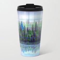 Nature Reflected Plaid Pine Forest Metal Travel Mug