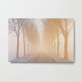 Road through foggy winter polder landscape in The Netherlands, sunrise Metal Print