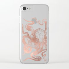 Rose Gold Octopus Clear iPhone Case