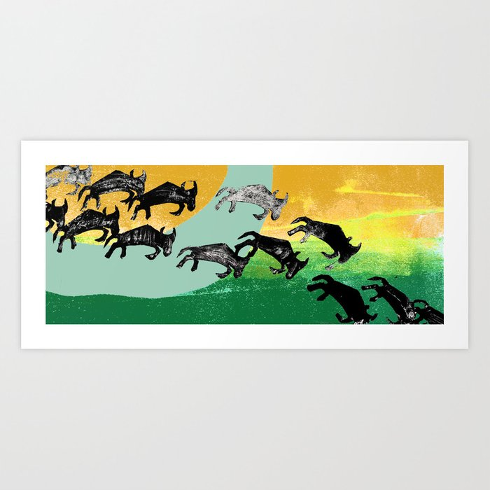 The Great Wildebeest Migration Art Print
