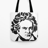 beethoven Tote Bags featuring Beethoven by b & c