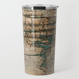 Rustic Wood - Knotty Wood Turquoise Paint - Beautiful Weathered Wooden Plank - Ages Gracefully Travel Mug