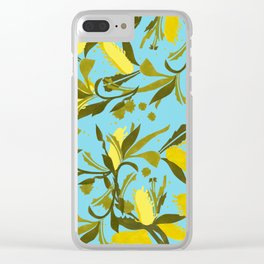 Melaleca blue & yellow textured Clear iPhone Case