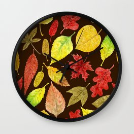 Autumn leaves watercolor dark Wall Clock