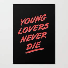 Young Lovers Never Die - Charcoal Black & Red Canvas Print