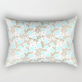 Modern faux gold teal white hand painted floral Rectangular Pillow