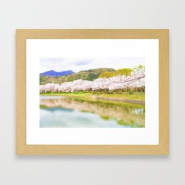 Cherry tree and pond Framed Art Print