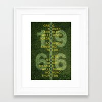 packers Framed Art Prints featuring The Names of the 1966 Packers by tinyconglomerate