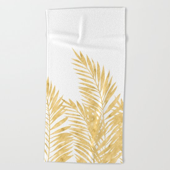Palm Leaves Golden Beach Towel