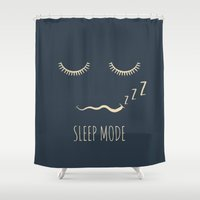 depeche mode Shower Curtains featuring Sleep Mode by Word Quirk