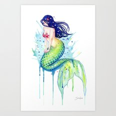 Mermaid Splash Art Print