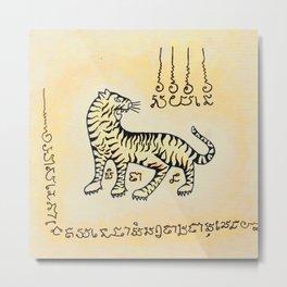 Tiger Sak Yant Metal Print