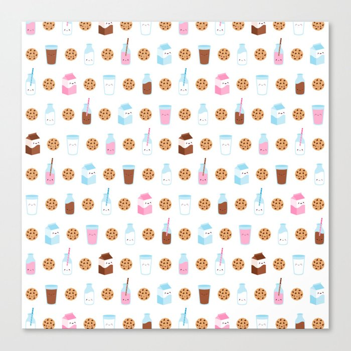 Milk and Cookies Pattern on White Canvas Print
