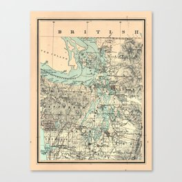 Vintage Map of The Puget Sound (1883) Canvas Print