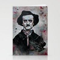 edgar allan poe Stationery Cards featuring Edgar Allan Poe by Bella Harris