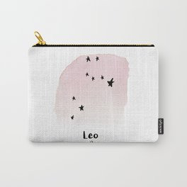 Leo Star sign, Constellation, Astrology, Horoscope, Zodiac Pink Watercolor Carry-All Pouch