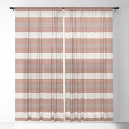 Slate Violet Gray and Creamy Off White Stripes Thick and Thin Horizontal Lines on Cavern Clay Sheer Curtain