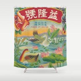 Vintage Firecracker Label with Ducks Shower Curtain