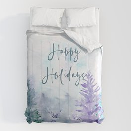 Watercolor Happy Holidays Winter Wonderland Comforters