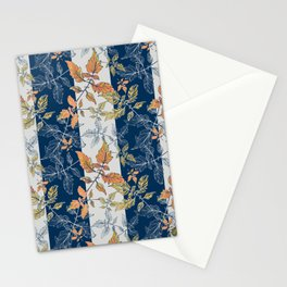 Tomatoes leaves in coral and blue stripes Pantone palette Stationery Cards