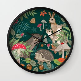 Animals In The Woods Wall Clock