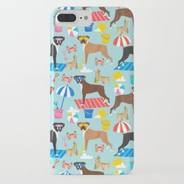 Boxer dog breed beach summer fun dogs boxers pet portrait pattern iPhone Case