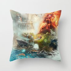 The 4 elements of the Zodiac Throw Pillow