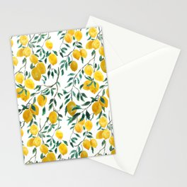 watercoor yellow lemon pattern Stationery Cards
