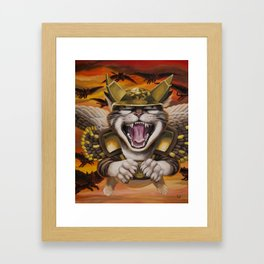 Hawk cats, DIVE! Framed Art Print
