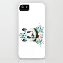 Watercolor Floral Spray Boho Panda iPhone Case