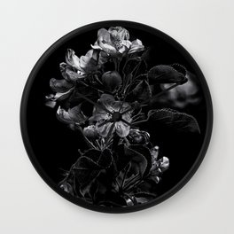Backyard Flowers In Black And White 4 Wall Clock