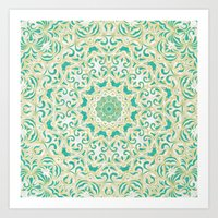 Floral Pattern Gold and Emerald Green Art Print