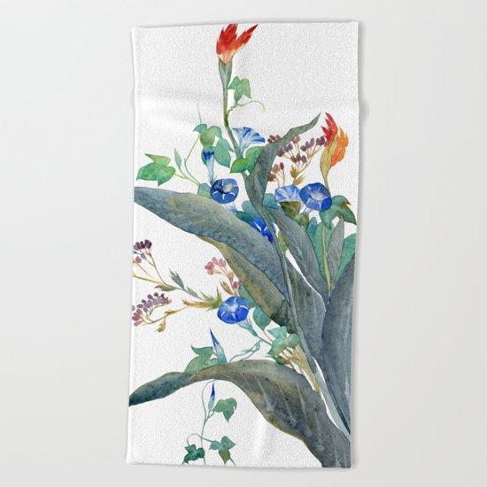 Feng shui flowers Beach Towel