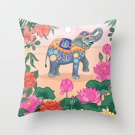Elephant and Lotus Flowers Throw Pillow