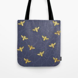 Flying Gold Bees On A Dark Blue Background Tote Bag