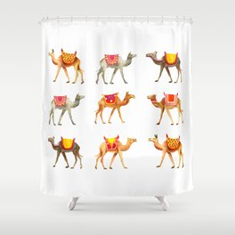 Cute watercolor camels Shower Curtain