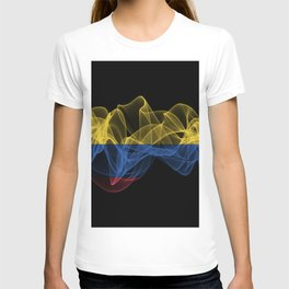 Colombia Smoke Flag on Black Background, Colombia flag T-shirt