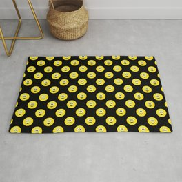 Yellow Smiley Face Black Background Rug