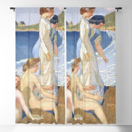 Bathers in Perros Guirec Blackout Curtain