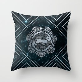 Pisces Zodiac Silver Embossed on the Star sky Throw Pillow