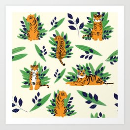 Tigers pattern Art Print