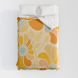 Sunny Flowers / Floral Illustration Duvet Cover