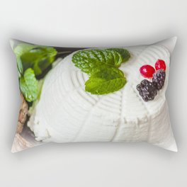Fantasy of ricotta cheese, berries, dried figs and fresh mint Rectangular Pillow