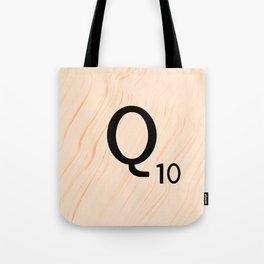 Scrabble Letter Q - Large Scrabble Tiles Tote Bag