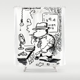 Hard-Boiled Detective Ape Shaves at the Office Shower Curtain