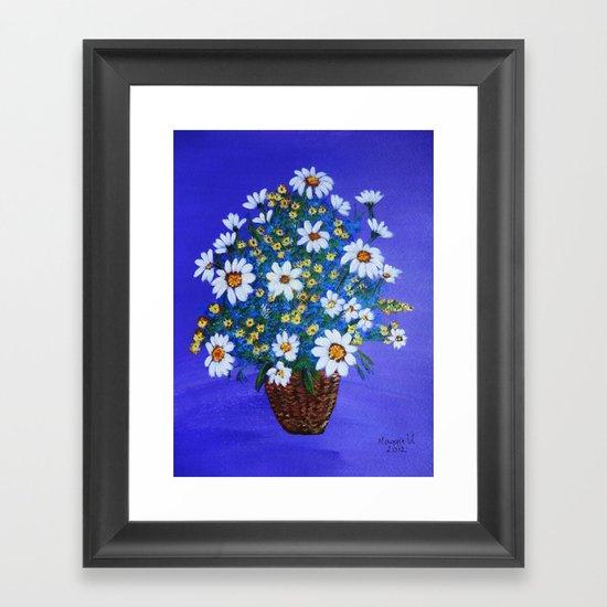 Flowers in the basket Framed Art Print