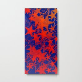 Vector blue background in red stars. For registration of paper or banners. Metal Print