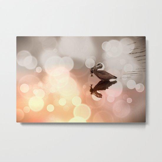 Great Blue Heron Hunter Reflection Metal Print