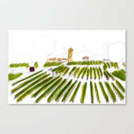 Early morning in the vineyard: a watercolor from the Hâut-Médoc Canvas Print